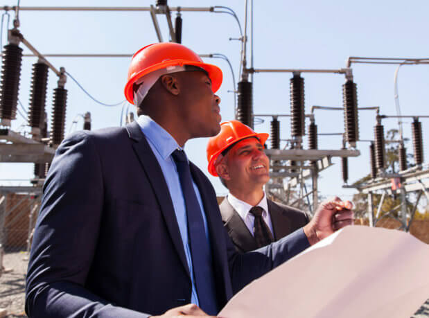 adult men at a electrical site